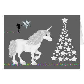 Unicornio mágico, hada y árbol de navidad de la tarjeta de felicitación