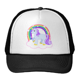 Unicornio mágico lindo con el arco iris gorra