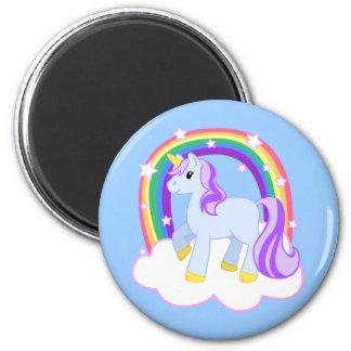 Unicornio mágico lindo con el arco iris (personali imán redondo 5 cm