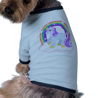 Unicornio mágico lindo con el arco iris (personali camiseta de perrito