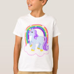 Unicornio mágico lindo con el arco iris playera