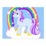 Unicornio mágico lindo con el arco iris postal