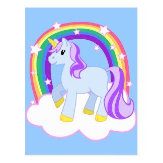 Unicornio mágico lindo con el arco iris tarjetas postales