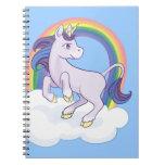 Unicornio mágico lindo del arco iris cuadernos