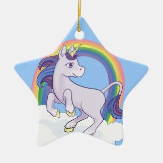 Unicornio mágico lindo del arco iris ornamentos de navidad