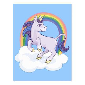 Unicornio mágico lindo del arco iris postales