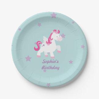 Unicornio mágico personalizado lindo de la placa platos de papel