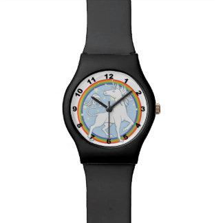 Unicornio majestuoso del arco iris de la chispa reloj de mano