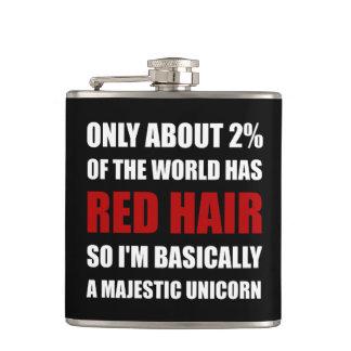 Unicornio majestuoso del pelo rojo petaca