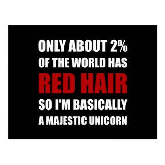 Unicornio majestuoso del pelo rojo tarjetas postales