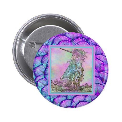 Unicornio medieval del arco iris pin