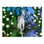 Unicornio místico adorable lindo postal