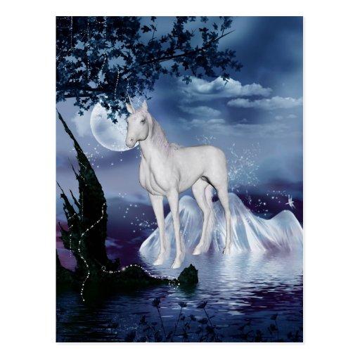 Unicornio místico adorable lindo postales