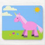 Unicornio mullido rosado tapetes de ratón