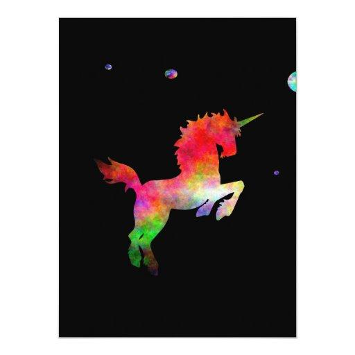 """Unicornio Multi-hued del espacio profundo Invitación 6.5"""" X 8.75"""""""