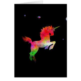 Unicornio Multi-hued del espacio profundo Tarjeta De Felicitación