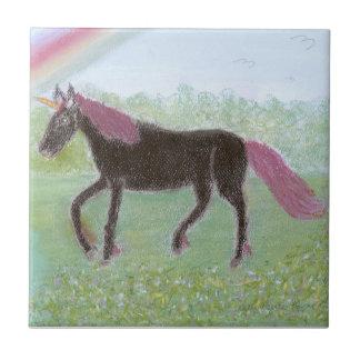 Unicornio negro azulejo cerámica