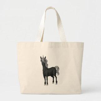 Unicornio negro bolsa tela grande