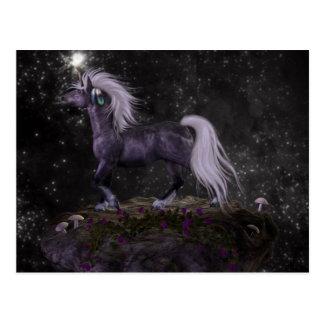 Unicornio negro celestial postal
