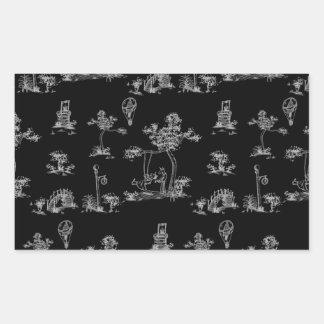 Unicornio negro de Toile Pegatina Rectangular