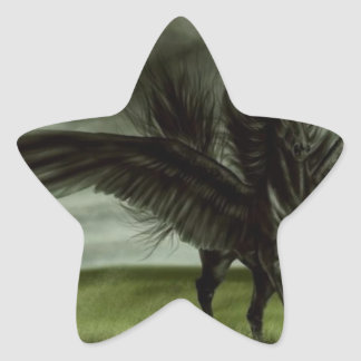 Unicornio negro en campo abierto pegatina en forma de estrella