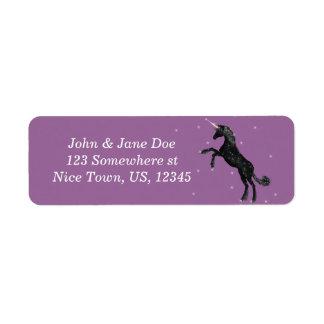 Unicornio negro etiquetas de remite