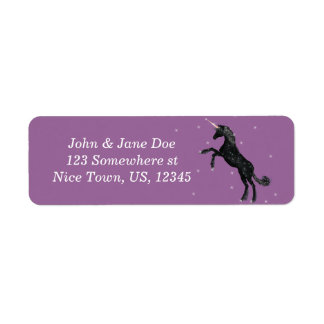 Unicornio negro etiqueta de remite