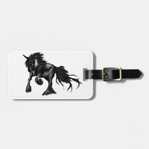 Unicornio negro etiquetas para equipaje