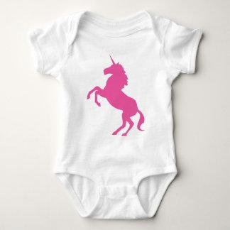 Unicornio Onsie de los rosas bebés Poleras