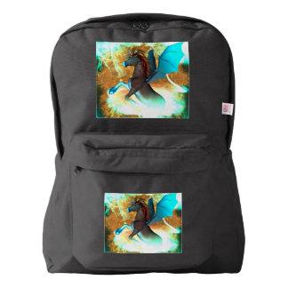 Unicornio oscuro maravilloso con los tornados mochila