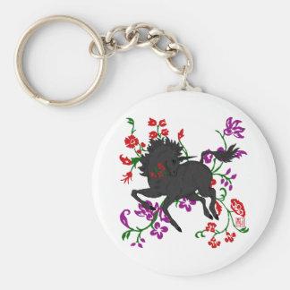 Unicornio oscuro Prancing del bonito con las flore Llaveros Personalizados