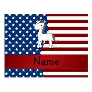 Unicornio patriótico conocido personalizado postal