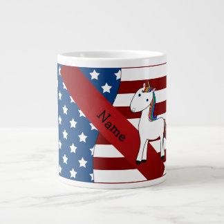 Unicornio patriótico conocido personalizado taza grande