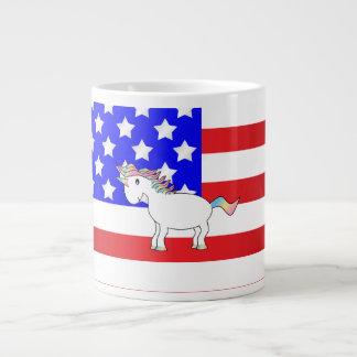 Unicornio patriótico taza grande