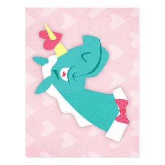 Unicornio pegado por el amor postal