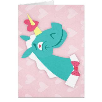 Unicornio pegado por el amor tarjeta pequeña