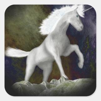 Unicornio Pegatina Cuadrada