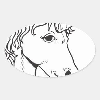 Unicornio Pegatina Ovalada