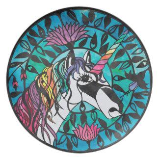Unicornio - placa de la melamina del diseño de platos para fiestas