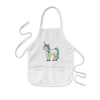 Unicornio poner crema con la melena azul clara delantal infantil