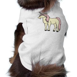 Unicornio poner crema con la melena rosa clara playera sin mangas para perro