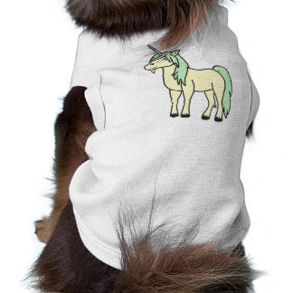 Unicornio poner crema con la melena verde clara playera sin mangas para perro