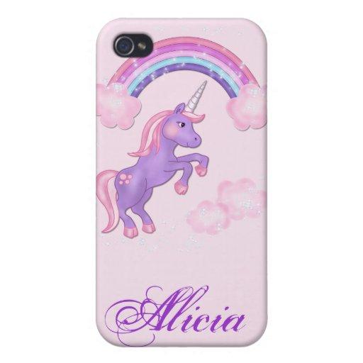 Unicornio púrpura 4S iPhone 4 Carcasa