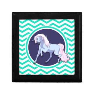 Unicornio púrpura; Aguamarina Chevron verde Caja De Recuerdo