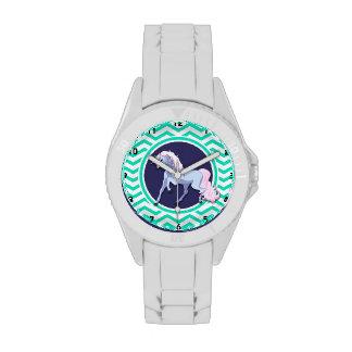 Unicornio púrpura; Aguamarina Chevron verde Relojes