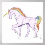 Unicornio púrpura del arco iris impresiones