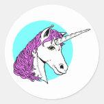 Unicornio púrpura pegatinas redondas