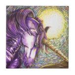 unicornio púrpura tejas  cerámicas