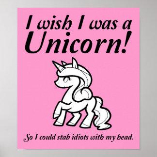Unicornio que apuñala la muestra divertida del póster
