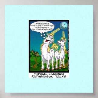 Unicornio que enlaza la impresión divertida de la  poster